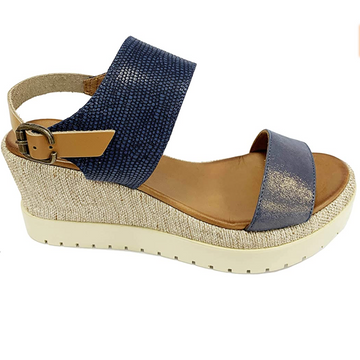 Bueno - Navy Leather Platform Wedge Sandals