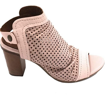 Bueno - Tan Pink Leather Peep Toe - High Heel Sandal