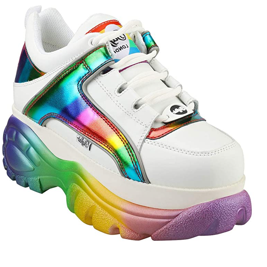 Buffalo - Women's Platform Leather Trainers - White / Rainbow