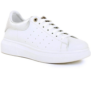 Carmela - White/Silver Leather Platform Chunky Trainers