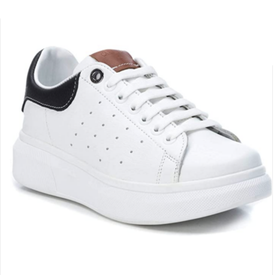 Carmela - White/Black Leather Platform Trainers