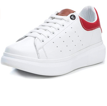 Carmela - Leather Platform Trainers - White / Red