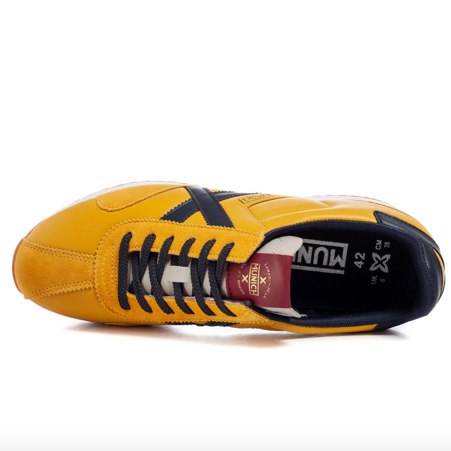Munich - Sapporo 90 Leather Trainer - Yellow / Navy
