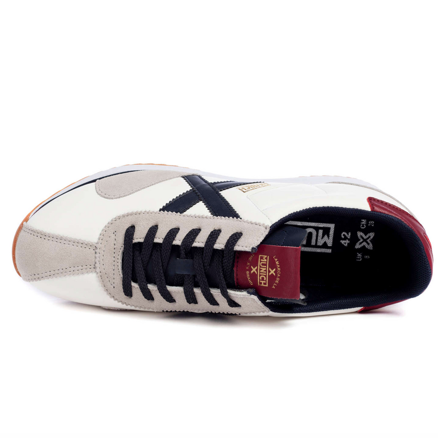 Munich - Sapporo 93 - Mens Leather Trainers - White / Navy