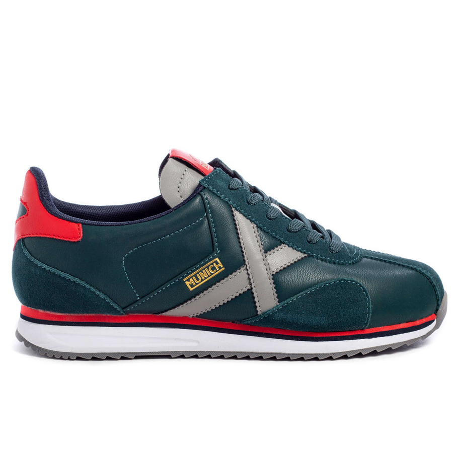 Munich - Sapporo 92 - Men's Leather Trainers - Green / Red