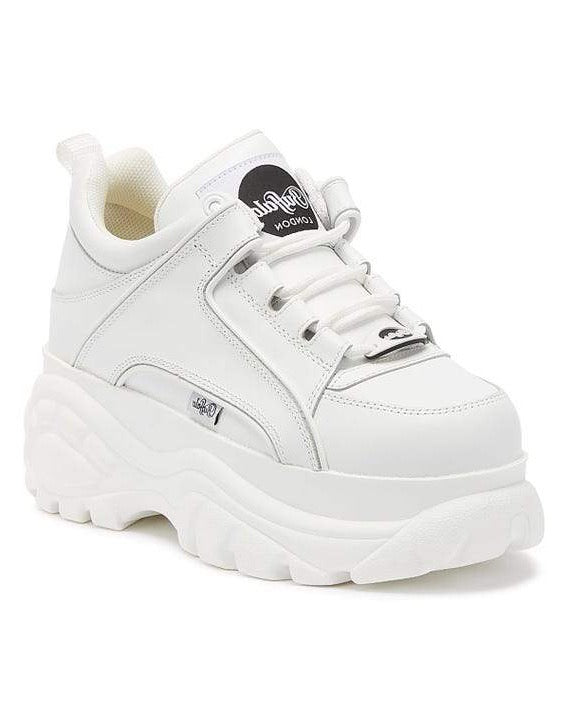 Buffalo - Cow Leather Platform Trainers - White