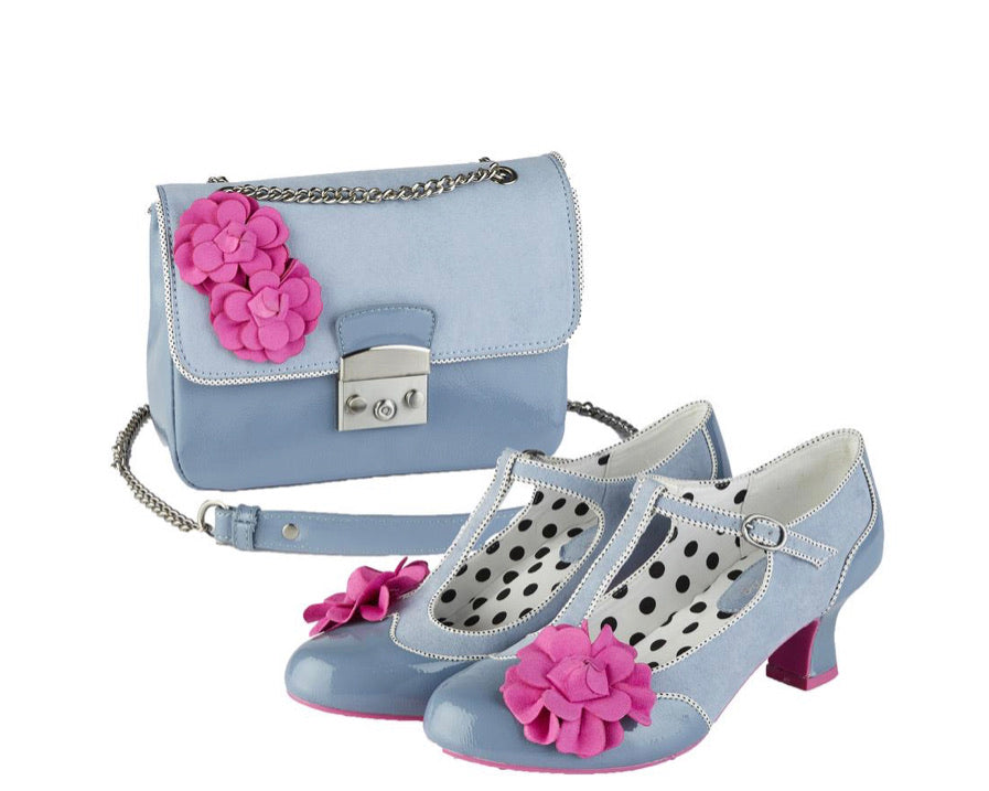 Ruby Shoo - Marcie Sky Blue - Mid Heel T Bar Shoe