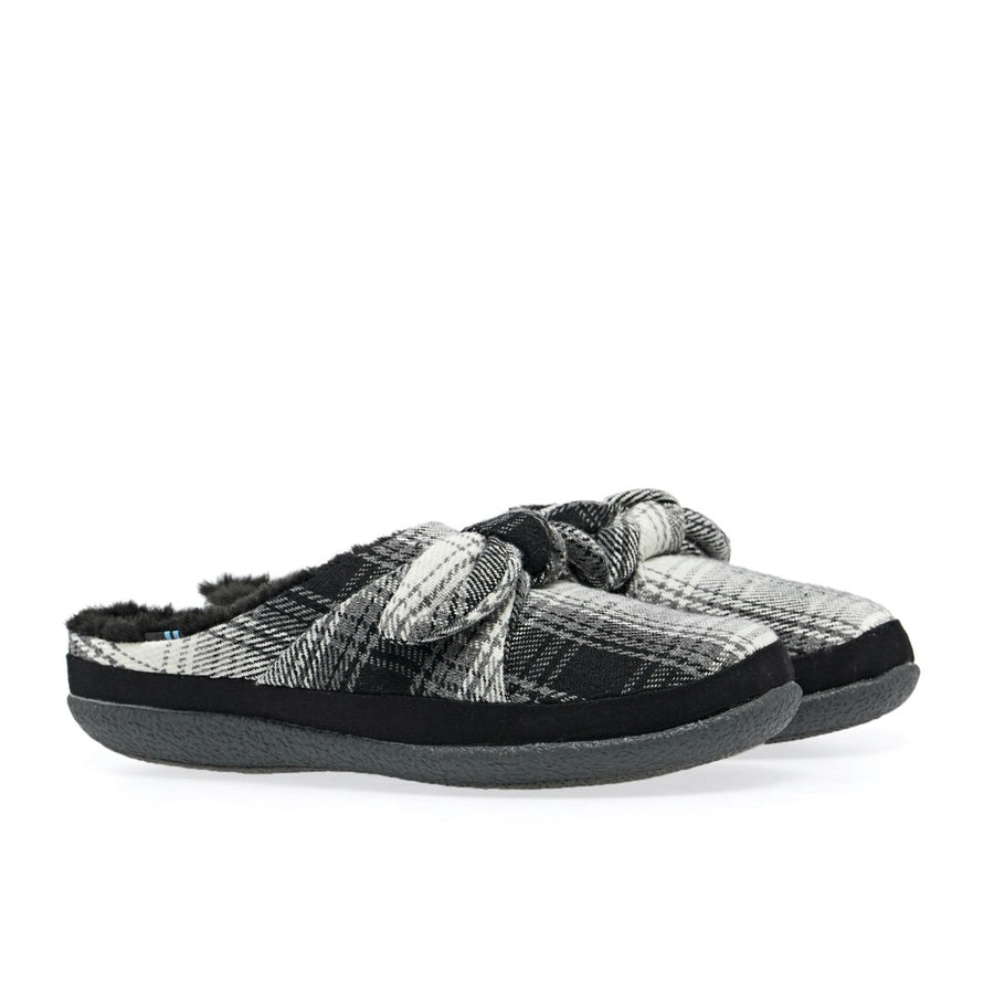 Toms-Ivy-Black-Plaid-bow-Women's-Slippers
