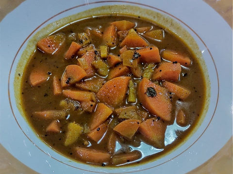Red Curry with Carrots in a Round Bowl