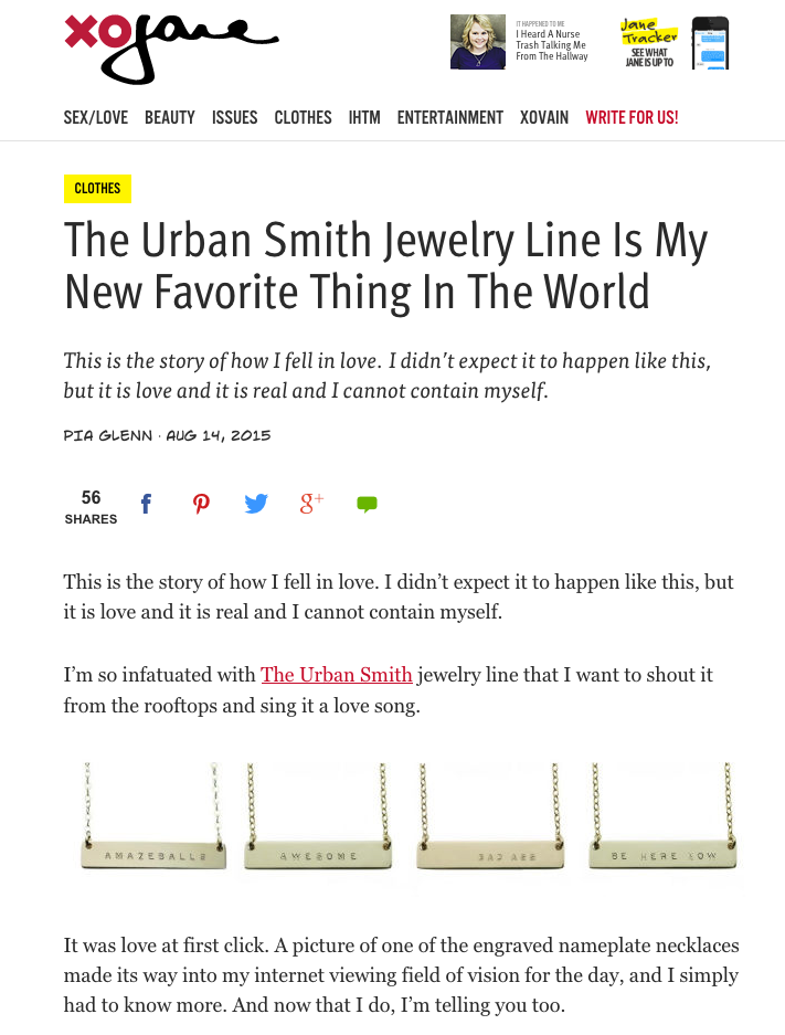 THE URBAN SMITH XO JANE