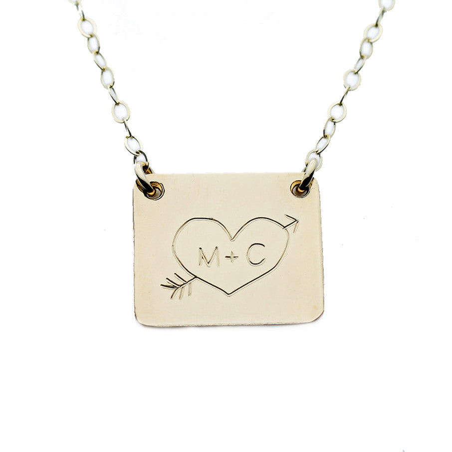Gold Square Name Plate Necklace Custom Heart Initials