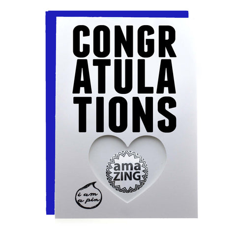 PIN GREETING CARD - CONGRATULATIONS