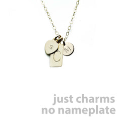 Gold Name Plate Necklace Custom Multi Charms