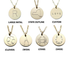 Bar And Disc Charm Necklace