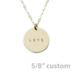 Gold Necklace Custom Disc - 5/8""