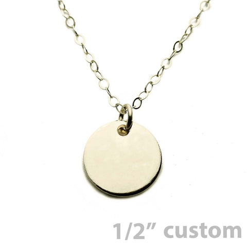 Gold Necklace Custom Disc - 1/2""