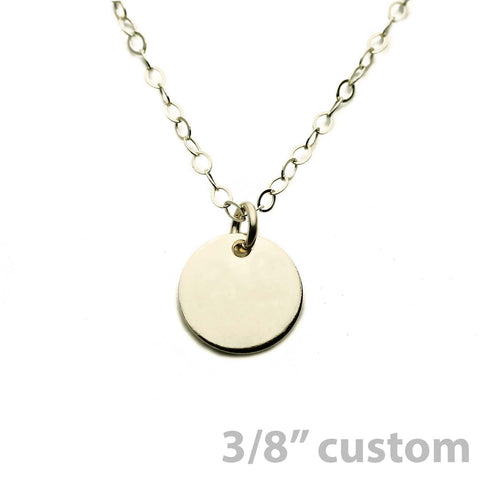 Gold Necklace Custom Disc - 3/8""