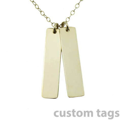 Gold Name Plate Necklace Custom Tags 1""