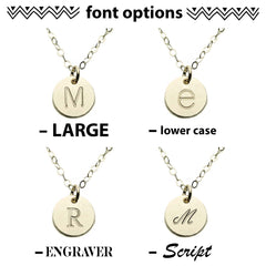 CUSTOM INITAL DISC NECKLACE FONT OPTIONS