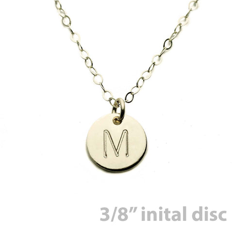 Gold Necklace Custom Initial Disc - 3/8""