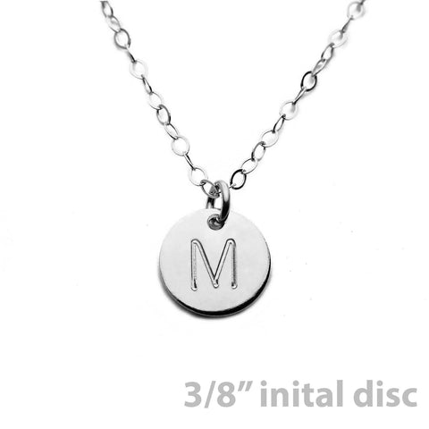 Silver Custom Initial Disc Necklace - 3/8""