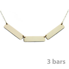 Gold Name Plate Necklace Custom Multi Bars 1""