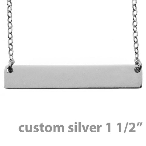 Name Plate Necklace Custom Sterling Silver - Nameplate 1 1/2""
