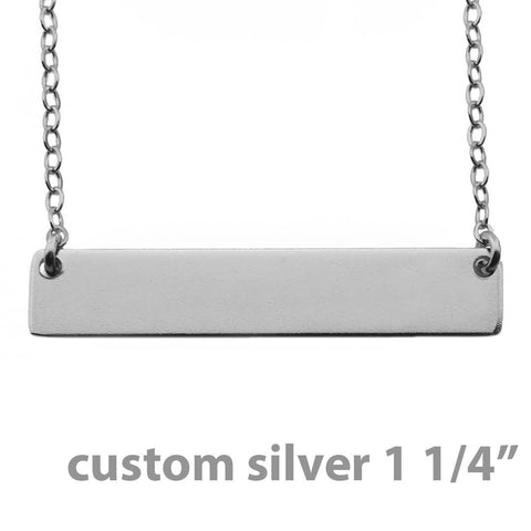 Name Plate Necklace Custom Sterling Silver - Nameplate 1 1/4""