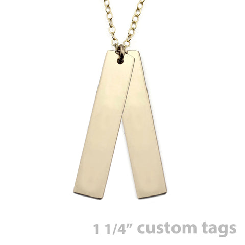 Gold Name Plate Necklace Custom Tags 1 1/4""