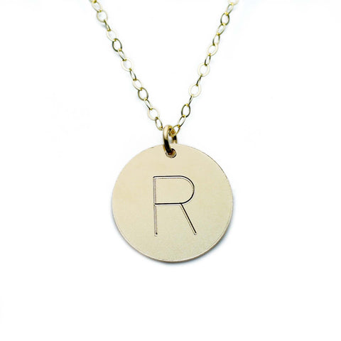 Gold Necklace Custom Initial Disc - 5/8""