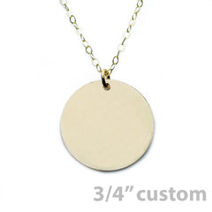 Gold Necklace Custom Disc - 3/4""