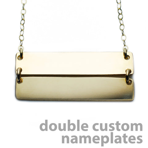 Gold Name Plate Necklace Custom Double Bars