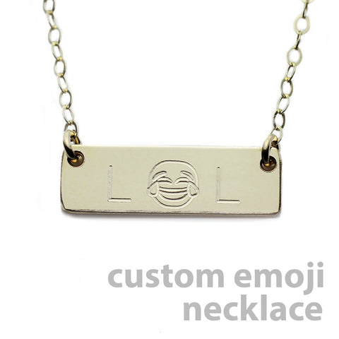 Custom Gold Name Plate Necklace Emoji Necklace
