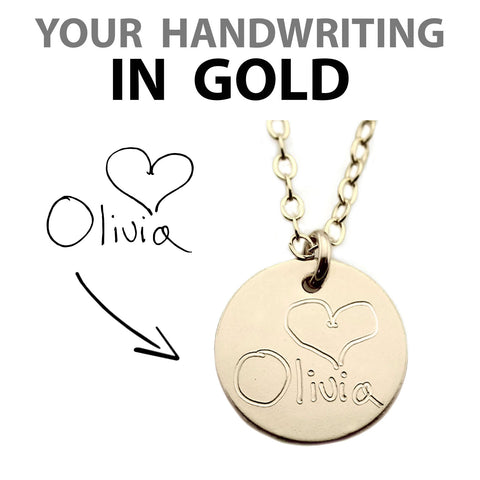 Custom Handwriting Disc Necklace