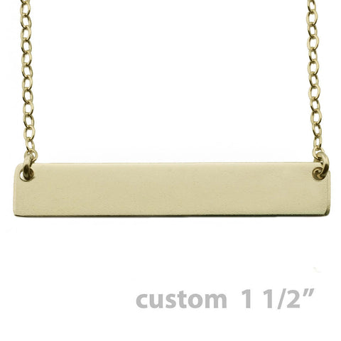 Gold Name Plate Necklace Custom 1.5""