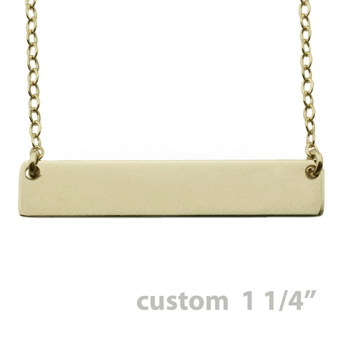 Gold Name Plate Necklace Custom 1.25""