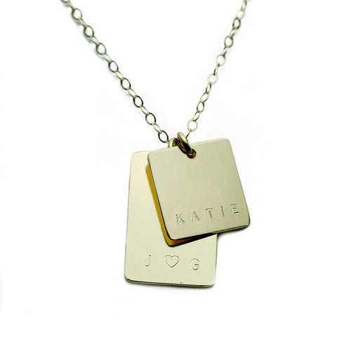 Gold Name Plate Necklace Custom Rectangle Multi