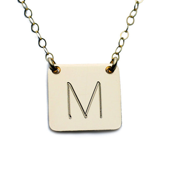 Gold Square Initial Necklace