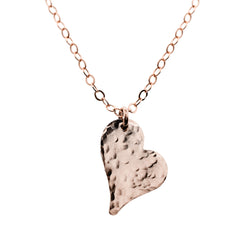 HAMMERED HEART NECKLACE ROSE GOLD