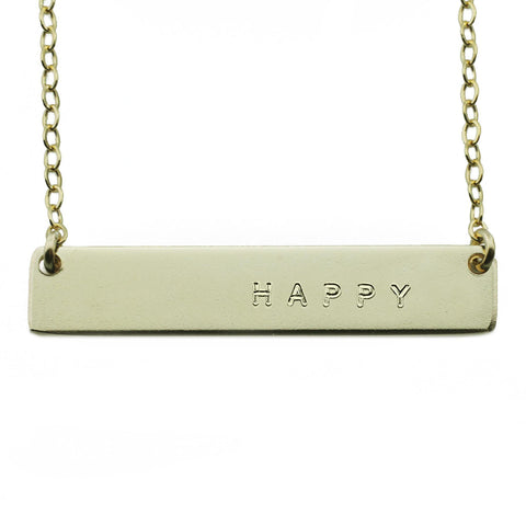 The Name Plate Necklace Happy