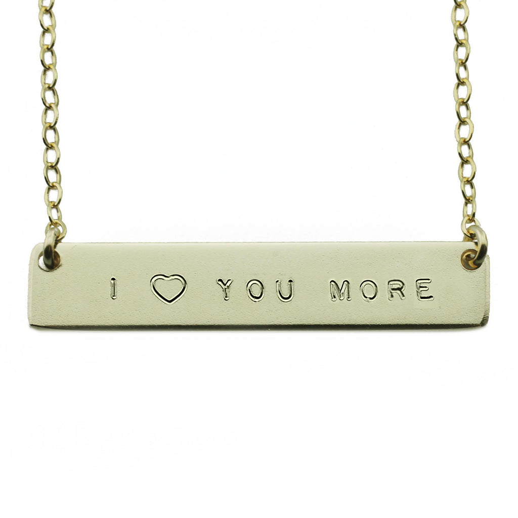 I HEART YOU MORE NAMEPLATE NECKLACE