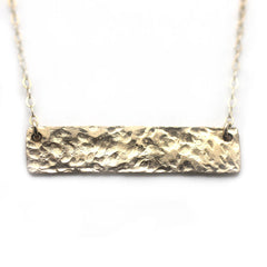 Gold Name Plate Necklace Hammered 1 1/4""