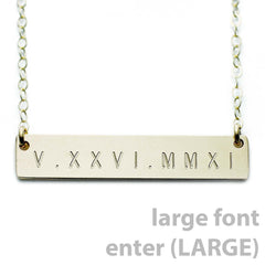 Name Plate Necklace Gold Custom Roman Numerals