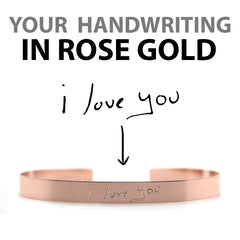 Custom Rose Gold Handwriting Cuff Bracelet