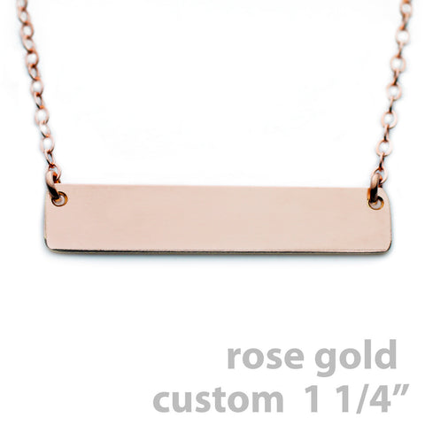 Gold Name Plate Necklace Custom Rose Gold 1.25""