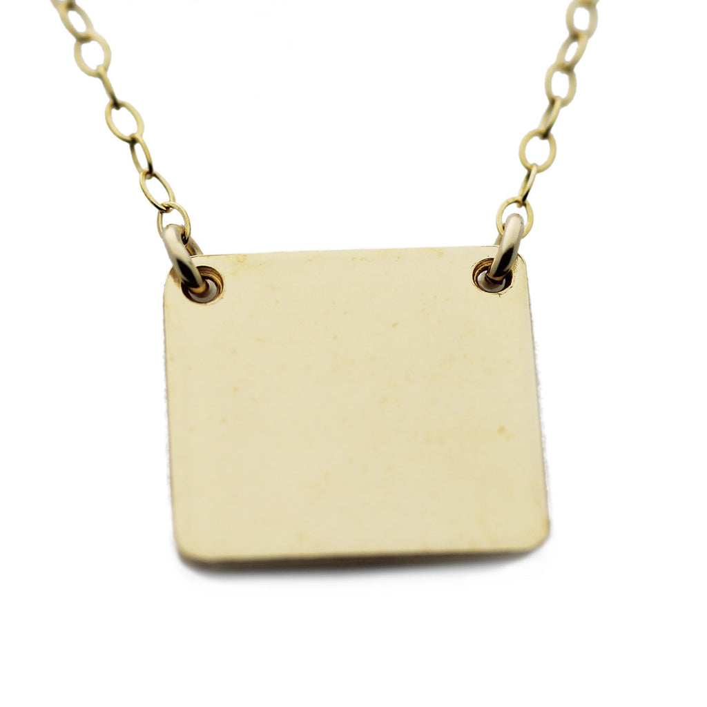 Gold Name Plate Necklace Custom Square 1/2""