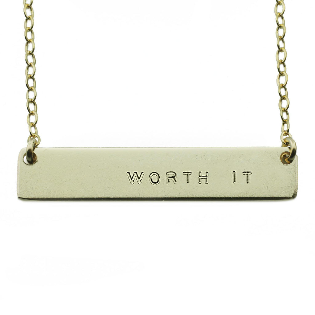 WORTH IT NAMEPLATE NECKLACE