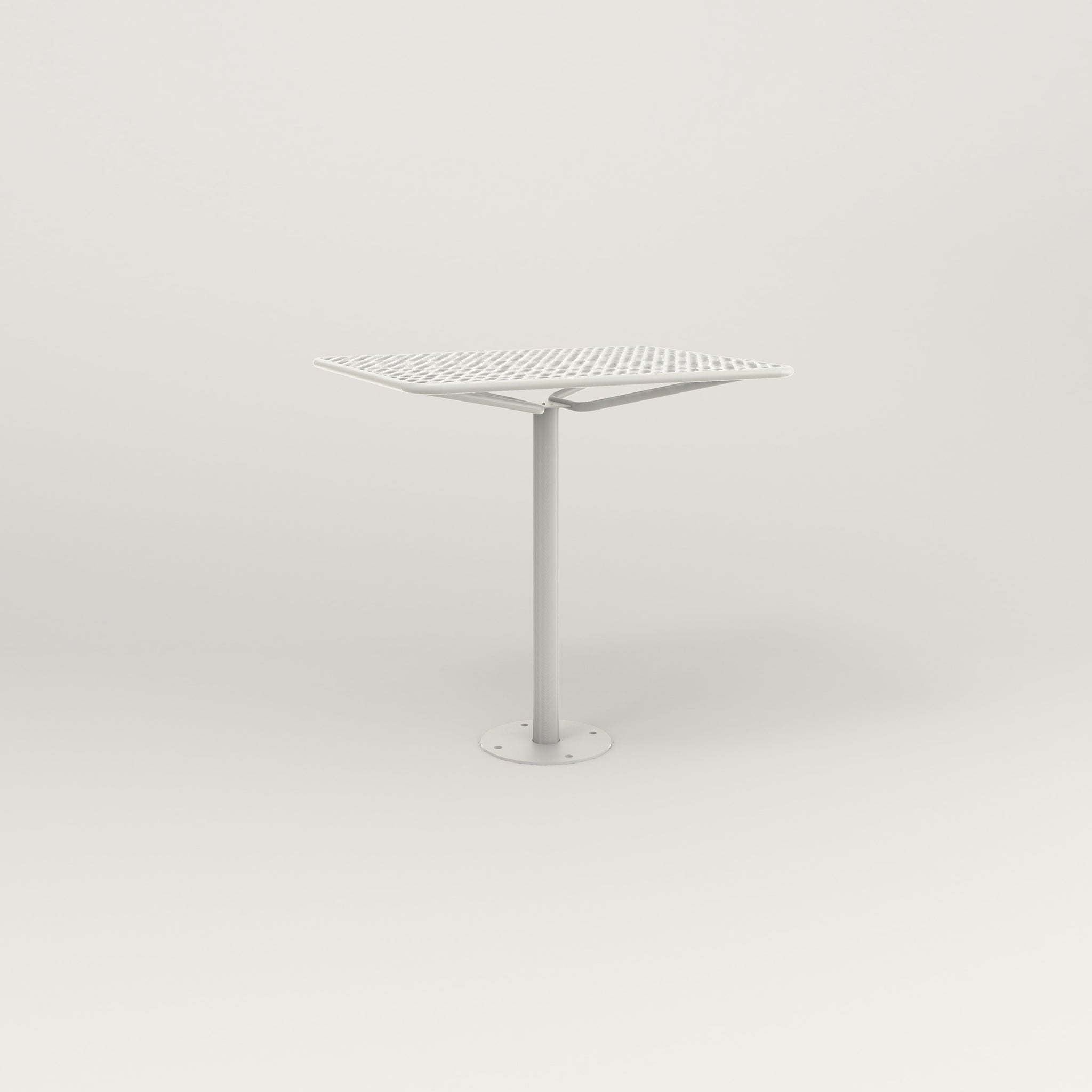 RAD Cafe Table, Rectangular Bolt Down Base in perforated steel and white powder coat.