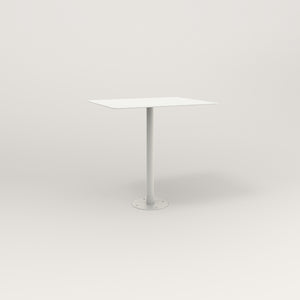 RAD Cafe Table, Rectangular Bolt Down Base in aluminum and white powder coat.