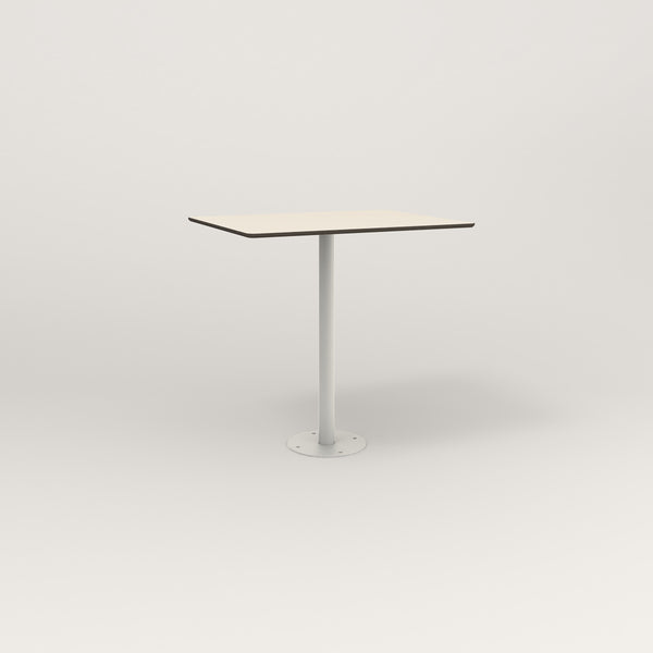 RAD Cafe Table, Rectangular Bolt Down Base in hpl and white powder coat.